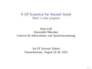 A GF-Grammar for Ancient Greek
