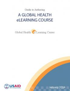 A GLOBAL HEALTH elearning COURSE
