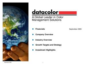 A Global Leader in Color Management Solutions