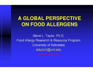 A GLOBAL PERSPECTIVE ON FOOD ALLERGENS