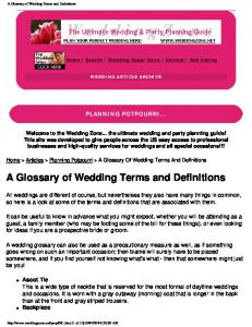 A Glossary of Wedding Terms and Definitions