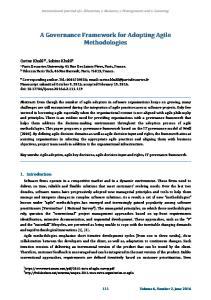 A Governance Framework for Adopting Agile Methodologies
