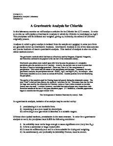 A Gravimetric Analysis for Chloride