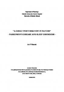 A GREAT PERTURBATION IN NATURE - PARKINSON S DISEASE AND SLEEP DISORDERS