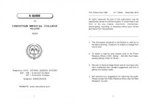 A GUIDE CHRISTIAN MEDICAL COLLEGE VELLORE INDIA
