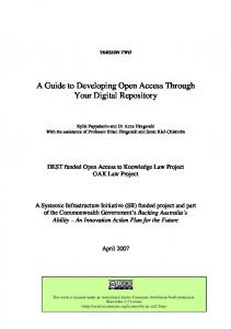 A Guide to Developing Open Access Through Your Digital Repository