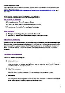 A GUIDE TO REFERENCING IN ACADEMIC WRITING