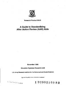 A Guide to Standardizing After Action Review (AAR) Aids