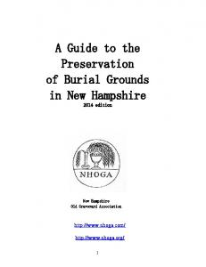 A Guide to the Preservation of Burial Grounds in New Hampshire 2014 edition