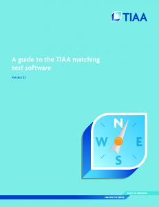 A guide to the TIAA matching test software. Version 3.1
