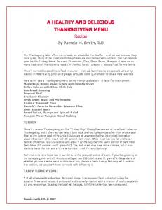 A HEALTHY AND DELICIOUS THANKSGIVING MENU