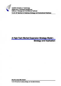 A High-Tech Market Expansion Strategy Model - Strategy and Implication