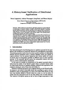 A History-based Verification of Distributed Applications