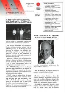 A HISTORY OF CONTROL EDUCATION IN AUSTRALIA