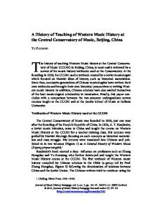 A History of Teaching of Western Music History at the Central Conservatory of Music, Beijing, China