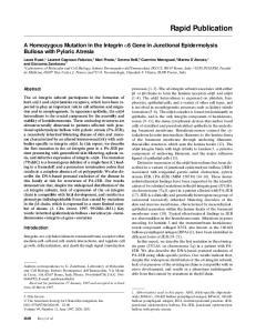 A Homozygous Mutation in the Integrin 6 Gene in Junctional Epidermolysis Bullosa with Pyloric Atresia