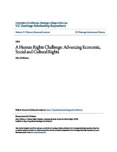 A Human Rights Challenge: Advancing Economic, Social and Cultural Rights