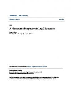 A Humanistic Perspective in Legal Education