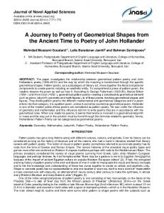A Journey to Poetry of Geometrical Shapes from the Ancient Time to Poetry of John Hollander