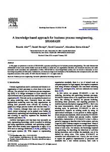 A knowledge-based approach for business process reengineering, SHAMASH