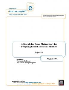 A Knowledge Based Methodology for Designing Robust Electronic Markets