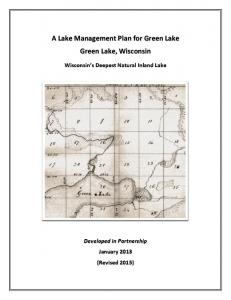 A Lake Management Plan for Green Lake Green Lake, Wisconsin Wisconsin s Deepest Natural Inland Lake