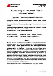 A Lesson Study as a Development Model of Professional Teachers