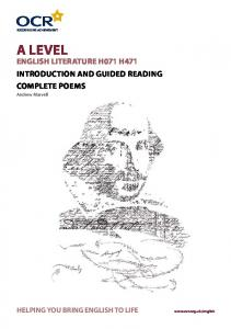 A Level. Introduction and guided reading Complete Poems. Andrew Marvell