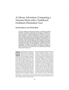 A Library Adventure: Comparing a Treasure Hunt with a Traditional Freshman Orientation Tour