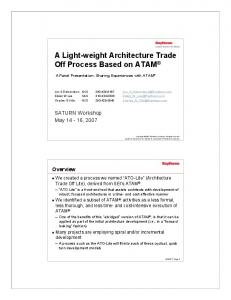 A Light-weight Architecture Trade Off Process Based on ATAM