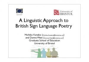A Linguistic Approach to British Sign Language Poetry
