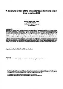 A literature review of the antecedents and dimensions of trust in online B2B