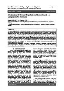 A Literature Review on Organizational Commitment A Comprehensive Summary