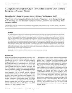 A Longitudinal Descriptive Study of Self-reported Abnormal Smell and Taste Perception in Pregnant Women