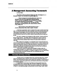A Management Accounting Framework