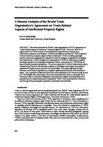 A Marxist Analysis of the World Trade Organisation s Agreement on Trade-Related Aspects of Intellectual Property Rights