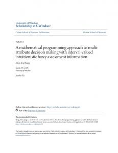 A mathematical programming approach to multiattribute decision making with interval-valued intuitionistic fuzzy assessment information