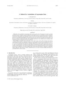 A Method for Assimilation of Lagrangian Data