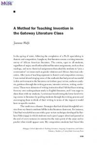 A Method for Teaching Invention in the Gateway Literature Class