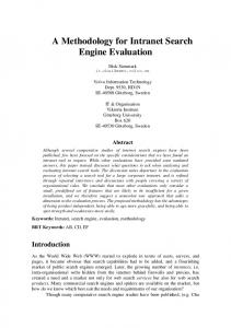 A Methodology for Intranet Search Engine Evaluation
