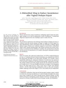 A Midurethral Sling to Reduce Incontinence after Vaginal Prolapse Repair
