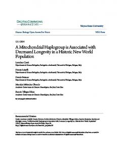A Mitochondrial Haplogroup is Associated with Decreased Longevity in a Historic New World Population