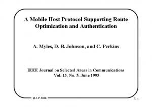 A Mobile Host Protocol Supporting Route Optimization and Authentication