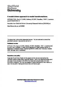 A model driven approach to model transformations
