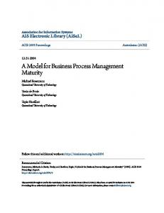 A Model for Business Process Management Maturity