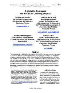 A Model to Represent the Facets of Learning Objects