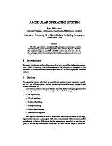 A MODULAR OPERATING SYSTEM