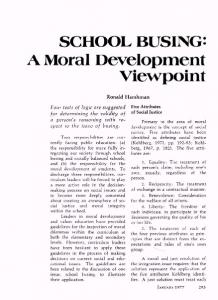 A Moral Development Viewpoint