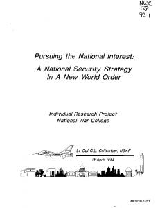 A National Security Strategy In A New World Order