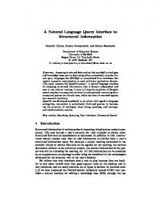 A Natural Language Query Interface to Structured Information